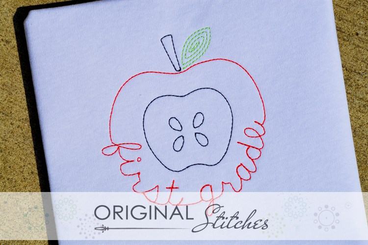 First grade apple quick stitch machine embroidery and