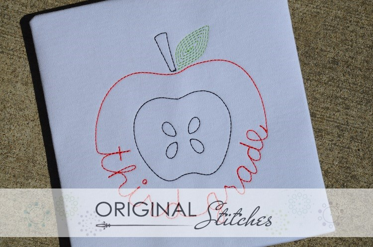 Third grade apple quick stitch machine embroidery and