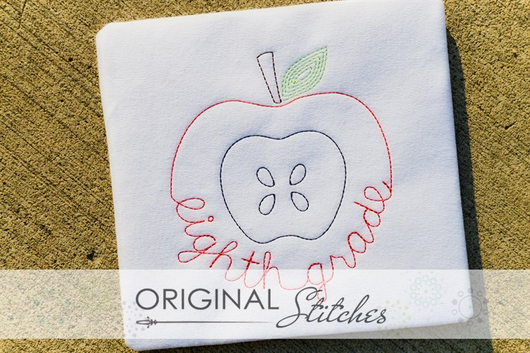 Eighth grade apple quick stitch machine embroidery and