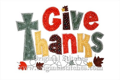 Give thanks cross zig zag machine embroidery and applique designs