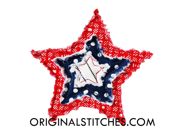 frayed star machine embroidery and applique designs. Black Bedroom Furniture Sets. Home Design Ideas