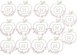 ALL School Grades Apple - Quick Stitch