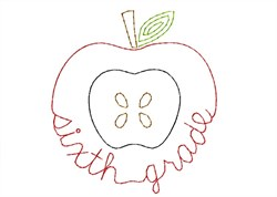 Sixth Grade Apple - Quick Stitch