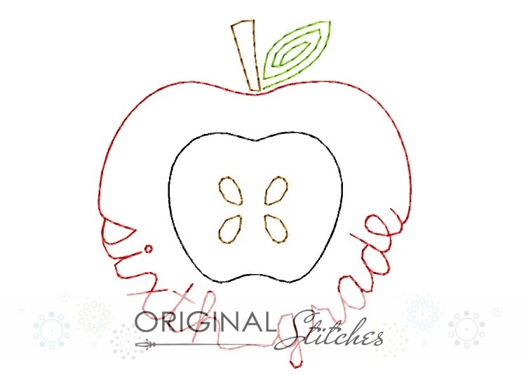 Sixth grade apple quick stitch machine embroidery and