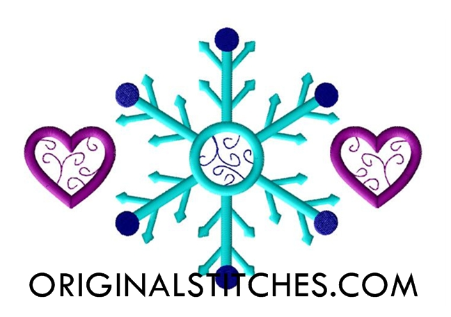 Swirl Snowflake and Hearts, Machine Embroidery and Applique