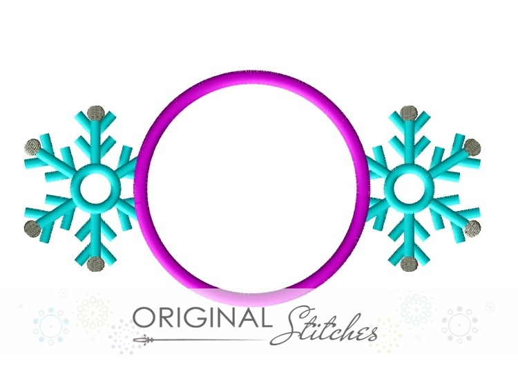 Snowflake Circle Monogram, Machine Embroidery and Applique